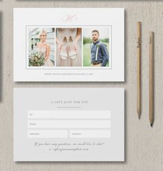 photographer gift card template   photography marketing   bittersweet design boutique