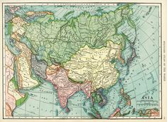 Here is a wonderful vintage C. S. Hammond map of Asia. I scanned it from a dictionary in my collection that was published in 1906. Asia map, vintage map download, antique map, C. S. Hammond, history geography Asia