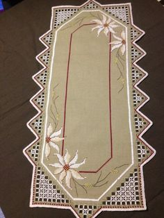 Beautiful Hardanger embroidered linen tablecloth by Inspiria, Types Of Embroidery, Embroidery Patterns Free, Ribbon Embroidery, Cross Stitch Patterns, Cross Stitch Pillow, Drawn Thread, Hardanger Embroidery, Linen Tablecloth, Geometric Patterns