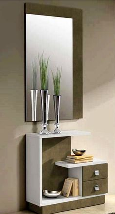 modern console table design ideas with mirror 2019 Bedroom Dressing Table, Dressing Table Design, Dressing Table Mirror, Dressing Tables, Hall Furniture, Home Decor Furniture, Diy Home Decor, Bedroom Bed Design, Bedroom Furniture Design