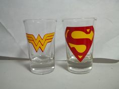 Superman and Wonder Woman Shot Glasses by TheCraftyGeek86 on Etsy, $10.00
