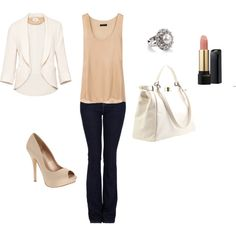 "White and blush dressy outfit   ""Classy"" by tania-malone24 on Polyvore"