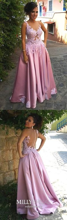 Pink Prom Dresses Long, Princess Formal Evening Dresses Lace, Sexy Military Ball Dresses Open Back, V-neck Pageant Graduation Party Dresses Satin #MillyBridal #pinkpromdresses #princessdresses #graduationdresses