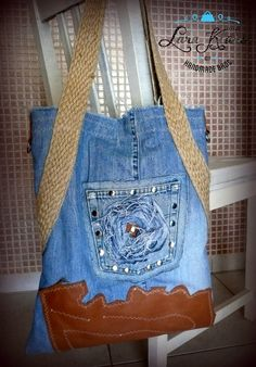Handmade Denim shoulder bag with leather bottom by by LaraKlass, $95.00