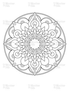 Printable Mandala Image Download - Coloring Book Page - Digital Scrapbook Clipart - Graphic Line Art