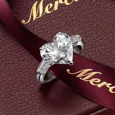 """Object of desire: Mercury Ring @mercuryjewelleryHeart of the collection in white gold with brilliant cut diamond """"heart"""" of a weight of 3.71 carats and cut diamonds """"baguette"""", weighing 0.61 carats."""