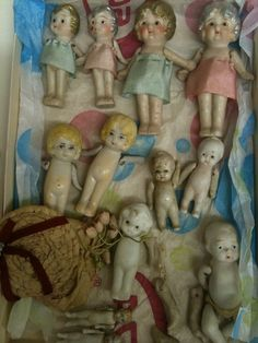 Vintage Dolls . . . love these little dolls . . . for vignettes or just on a little shelf . . . so sweet