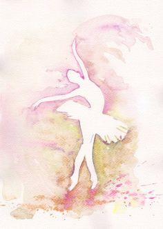 Purple Ballerina Art Watercolor Print my Original by mallalu, $19.00