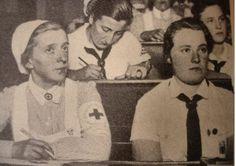 "German Red Cross nurse attending a lecture with members of the ""Bund Deutscher Mädel"" - late 1930s"