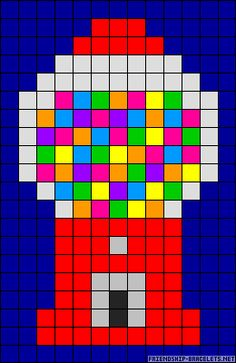 Gumball machine perler bead pattern --- could be turned into a granny square quilt pattern block = 1 granny square) <----- never thought of that! That's a great idea. Perler Bead Designs, Perler Bead Templates, Hama Beads Design, Diy Perler Beads, Perler Bead Art, Pearler Beads, Melty Bead Patterns, Pearler Bead Patterns, Perler Patterns