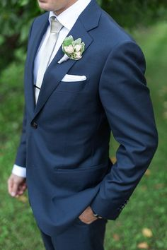 Classic Groom in Navy Blue | Royce Sihlis Photography and Created Lovely Events | Sparkling Blush and Champagne Wedding in an Apple Orchard: