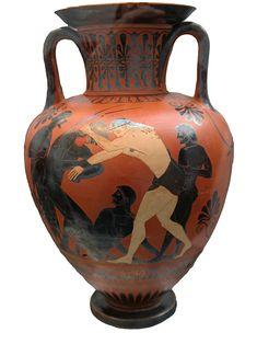 Peleus and Atalanta wrestling. Side A of an Attic black-figure neck-amphora, 500–490 BC. Staatliche Antikensammlungen