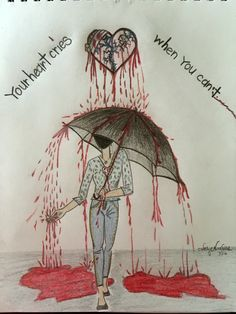 Broken heart drawing