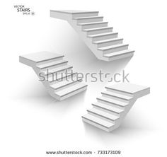 White stairs, 3d staircases. Set, Isolated on white background. EPS10