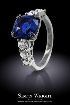 Custom sapphire engagement ring with side diamonds. Jeweller: Simon Wright, London #AspirationalBride