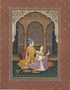 Beautifying His beloved. Mughal painting