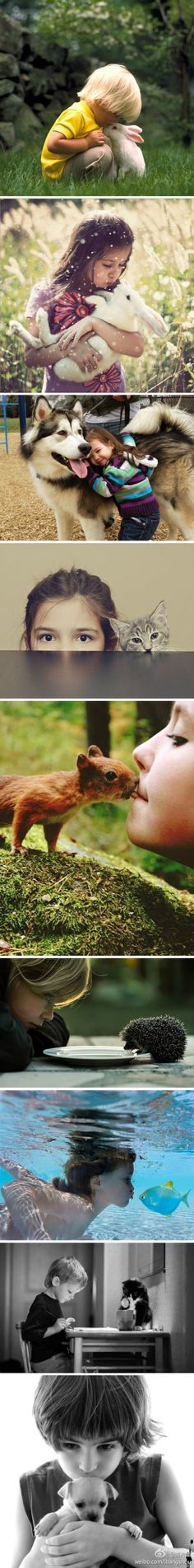 so awesome - kids with cute animals