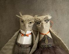 Lovebirds / Kamil & Dana ... OOAK art dolls owl doll by RUCNIjapan