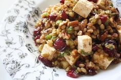 Wheat Berry Salad Recipe with Cranberries, pecans, and feta. GREAT salad to serve at a ladies' luncheon