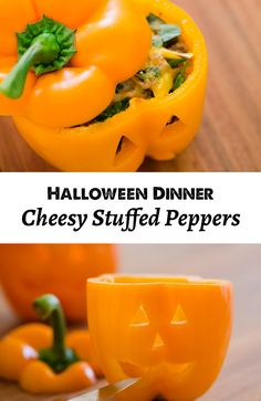 Halloween Dinner Recipe: Cheesy stuffed peppers that the kids will love!