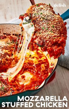 Mozzarella-Stuffed Chicken Parm How do you improve upon the *perfection* that is classic chicken par Italian Dishes, Italian Recipes, New Recipes, Dinner Recipes, Cooking Recipes, Healthy Recipes, Recipies, Game Recipes, Pasta Recipes