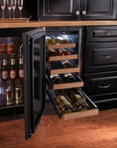 Perlick 15 Inch Built-in Undercounter Wine Reserve with Capacity, 5 Wine Adjustable Full-Extension Wine Shelves, cu. Volume, ENERGY STAR and Digital Temperature Control: Panel Ready, Left Hinge Door Swing Undercounter Refrigerator, Kitchen Refrigerator, Wine Fridge, Easy Home Decor, Home Decor Kitchen, Home Kitchens, Modern Kitchens, Kitchen Ideas, Contemporary Kitchens