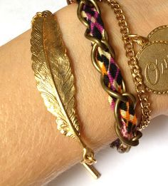 #stylish Gold Feather Bracelet