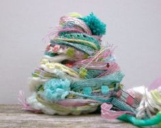 patisserie fringe effects™  art yarn bundle 21yds specialty fibers textile kit ribbons sequins pearls pink mint yellow shimmering pastels