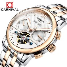 87.00$  Watch here - http://alig83.worldwells.pw/go.php?t=32737118800 - Fashion tourbillon watch men gold Stainless steel Automatic mechanical Sapphire waterproof white watch relogio masculino