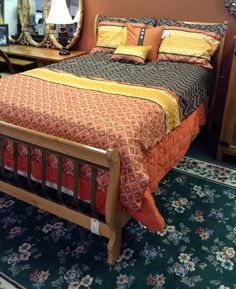 Bed - Iron/Wood Qn. Sz. Sleigh Bed - $399.95