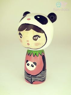 """Panda Doll - Kokeshi, Wooden doll Handmade wooden doll inspired by lovely animals, made of beech wood. About 6.3 cm (2 1/2"""") tall with 3.3 cm (1 1/4"""") wide head."""