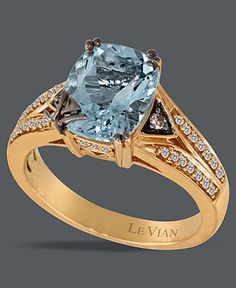 Le Vian 14k Rose Gold Ring, Aquamarine (2 ct. t.w.) and White and Chocolate Diamond Ring (1/5 ct. t.w.) - Rings - Jewelry & Watches - Macy's