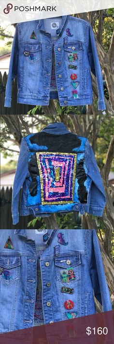 Hand embroidered,pinned, and painted denim jacket This jacket took me a long time to finish and it's finally available to go out for purchase. The front has a ton of pins and the back is sequined like a maze and painted with clouds around it. It's a very strange concept but it fits the time in my life that I made it. Any interest would be great, I have a couple jackets on here that I have upcycled and they're all near and dear to me. yxni Jackets & Coats Jean Jackets