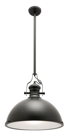 Features - 1 Light metal road pendant in black - Frost glass diffuser - Chrome rod - Additional rods supplied separately (35cm of extra cord supplied so rod can be added) - Lampsource: E27 Max 60 Watt - Globe is not included  Dimensions - Width: