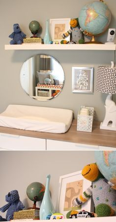 Mirror and Shelf above Changing table