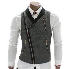 Doublju Mens Checks Zip up Vest Waistcoat (AV3). This is my kind a vest.