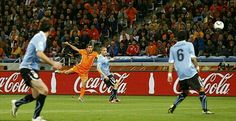 Uruguay 2 Holland 3 in 2010 in Cape Town. Giovanni Van Bronckhorst scores from 30 yards and its 1-0 to Holland in the World Cup Semi Final.