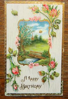 River Bridge Flowers--Antique Vintage Greeting Gel Postcard--Venice OH