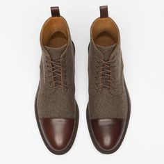 The Jack Boot in Grey/Oxblood - The Jack Boot in Grey/Brown - Mens Cap Toe Boots, Taft Boots, Two Tone Boots, Mens Boots Fashion, Fashion Suits, Fashion Men, Unique Shoes, Tassel Loafers, Oxblood