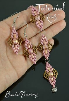 """""""Leafy"""" beadwoven bracelet and earring set tutorial. The digital tutorial is written in English language and includes: - information on materials and tools needed, -step by step instruction with photos and text. Technique: bead weaving."""