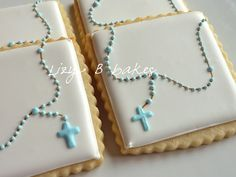 communion cookies -- i should remember this for Dominic Iced Cookies, Easter Cookies, Royal Icing Cookies, Cookies Et Biscuits, Cupcake Cookies, Sugar Cookies, Première Communion, Communion Cakes, Christening Cookies
