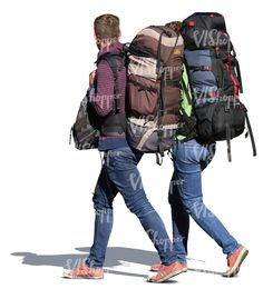 A man and woman with huge backpacks walking side by side