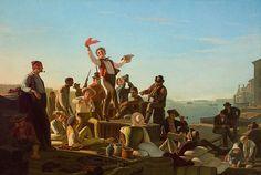Jolly Flatboatmen in Port Artist: George Caleb Bingham (American, Augusta County, Virginia 1811–1879 Kansas City, Missouri) Date: 1857 Culture: American Medium: Oil on canvas Dimensions: 47 1/4 × 69 5/8 in. (120 × 176.8 cm) Framed: 60 7/8 × 83 5/8 × 5 in. (154.6 × 212.4 × 12.7 cm) Classification: Paintings Credit Line: Saint Louis Art Museum
