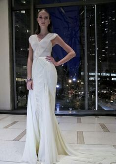 Gorgeous white fold evening gown.