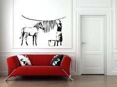 Love this decal for the Lundry Room... Banksy Zebra Stripes Wash Vinyl Wall Sticker by WallStickersWorld, £17.99