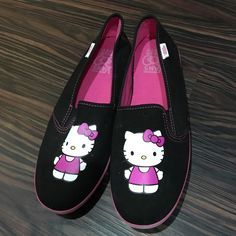 Hello kitty vans Black and pink hello kitty slip on vans. Worn once. Size 7. Excellent condition. Vans Shoes Flats & Loafers