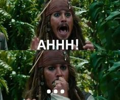 aaaah, jack sparrow, johnny depp, marj world, on Captain Jack Sparrow, Jake Sparrow, Jonh Deep, Image Citation, Pirate Life, Book Memes, Film Serie, Pirates Of The Caribbean, Book Fandoms