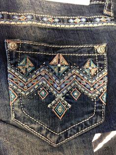 Grace In LA Soft Blue & Pink Aztec Design Junior Fit Boot Cut Jean: Sierra…