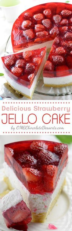 Strawberry Jello Cake Oh YUMMY! Strawberry Jello Cake recipe is the yummiest combo of all-time favorite spring and summer desserts: strawberry shortcake, strawberry jello and no-bake cheesecake. Jello Cake Recipes, Jello Desserts, Just Desserts, Baking Recipes, Delicious Desserts, Dessert Recipes, Yummy Food, Jello Cheesecake, Jello Pie