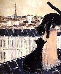 Black Cat with Fis Pretty On Roofs Paris; Atelier De Jiel